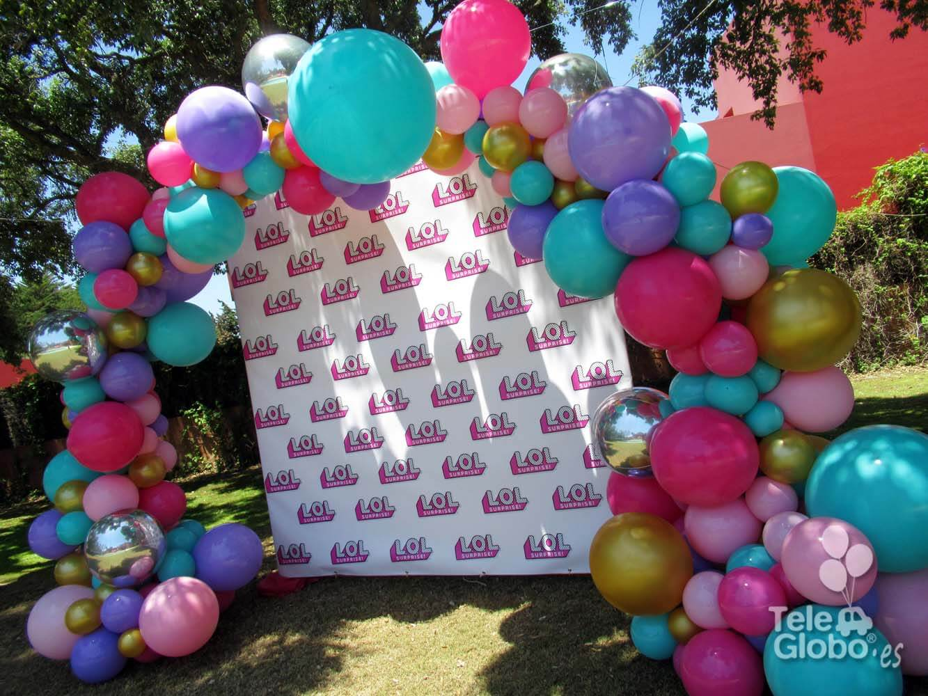 Arco de globos orgánico fiesta de cumpleaños lol surprise