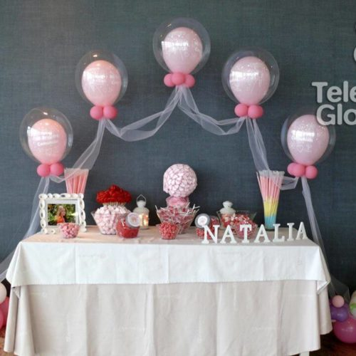 Arco globo burbuja para mesa dulce comunión
