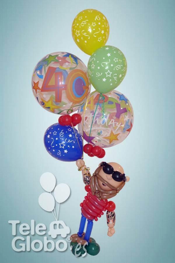 Ramo de globos personalizado para 40 cumpleaños