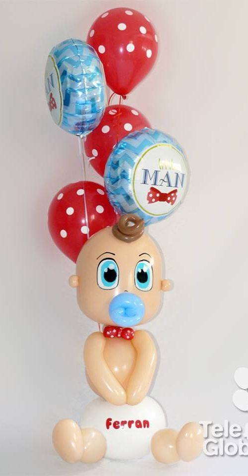 Ramo de globos para recién nacido con escultura de bebé