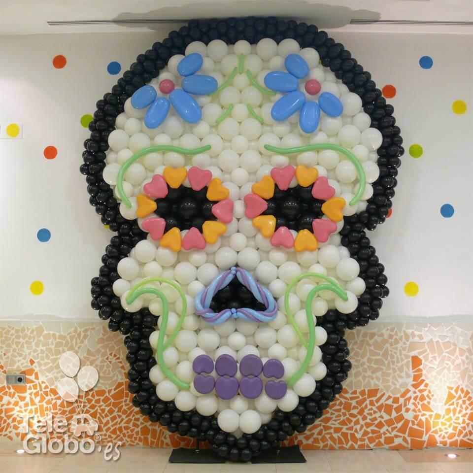 cabeza Catrina de globos para Halloween en MN4 Alfafar Valencia