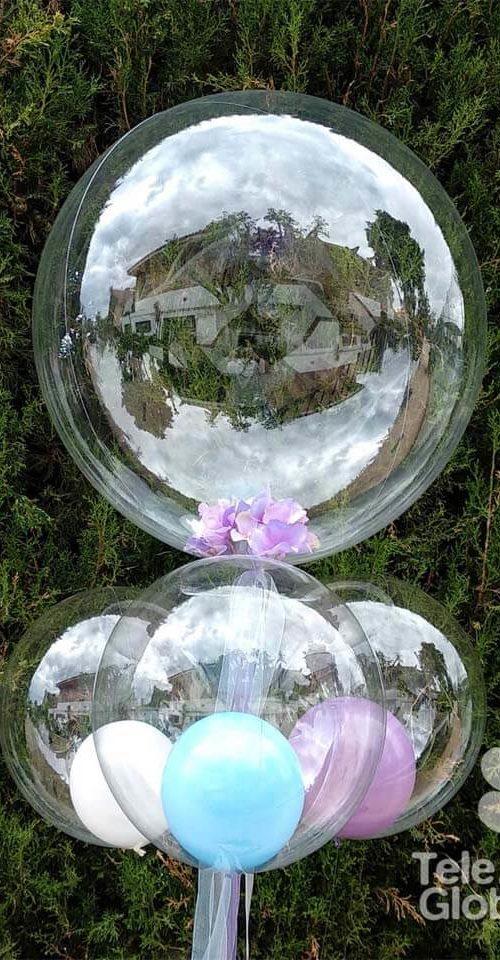 Centro de mesa burbujas con englobado de hortensias