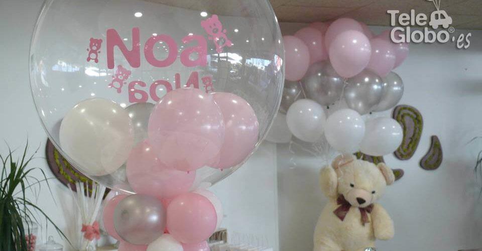 Centros de mesa globo burbuja personalizados para bautizo
