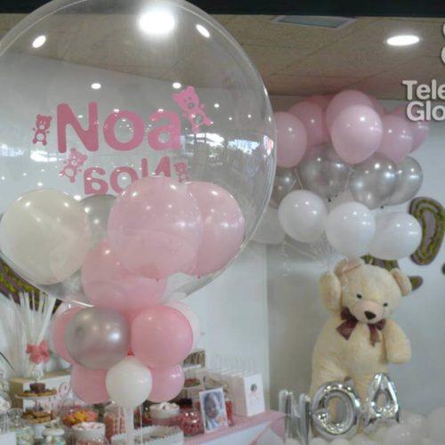 Globo burbuja personalizado oso con globos de helio