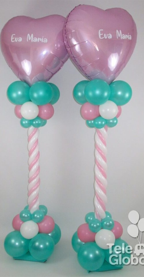 Columna de globos corazón con fuste candy colores rosa y menta