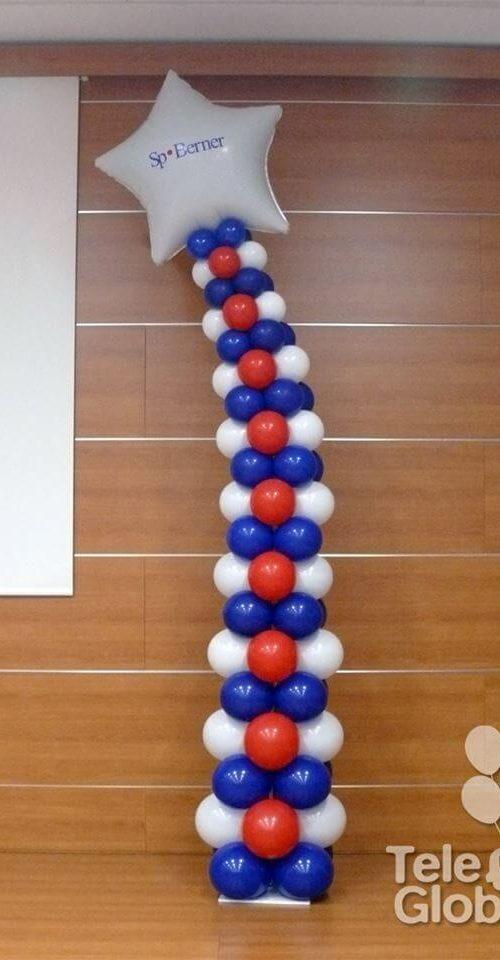 Columna de globos con reducción de diámetro personalizada con logotipo de empresa