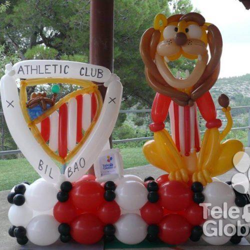 Escultura photocall futbol Athletic de Bilbao mascota y escudo