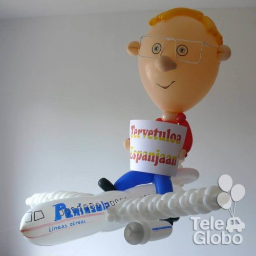 Avión y caricatura de globos