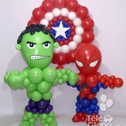 muñecos superheroes Hulk Spiderman y escudo del Capitan America