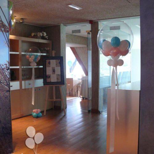 Globo burbuja decoracion vestibulo para bautizo