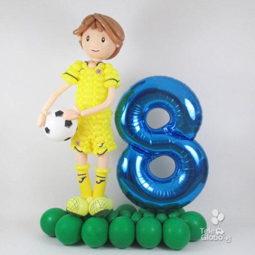 muñeco futbolista de globos del Villarreal C.F.