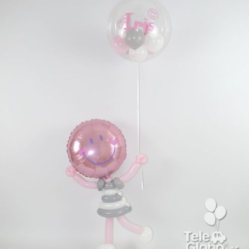 Muñequita de globos con globo de helio personalizado para nacimiento