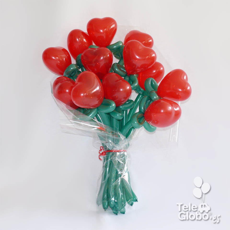 ramo de rosas corazon globos dia enamorados
