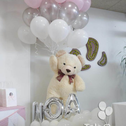 ramo globo helio con oso de peluche