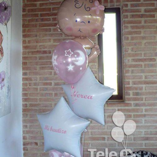 Bouquet de globos personalizados bebe niña