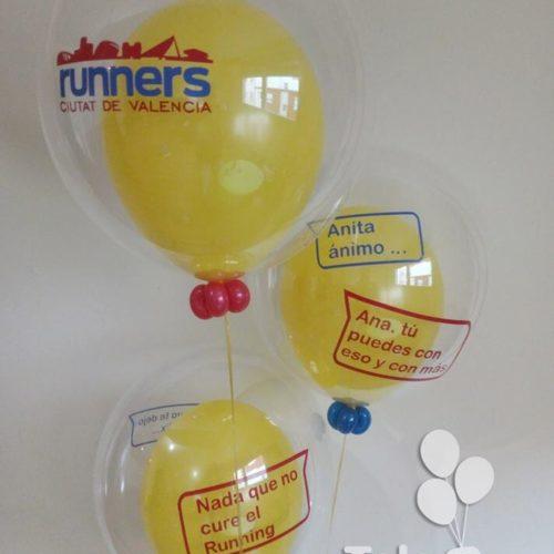 Ramo de globos burbuja personalizado con dedicatoria