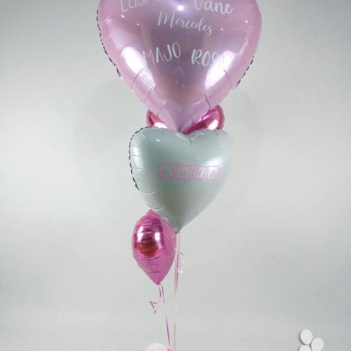 Ramo de globos con dedicatoria para recién nacida