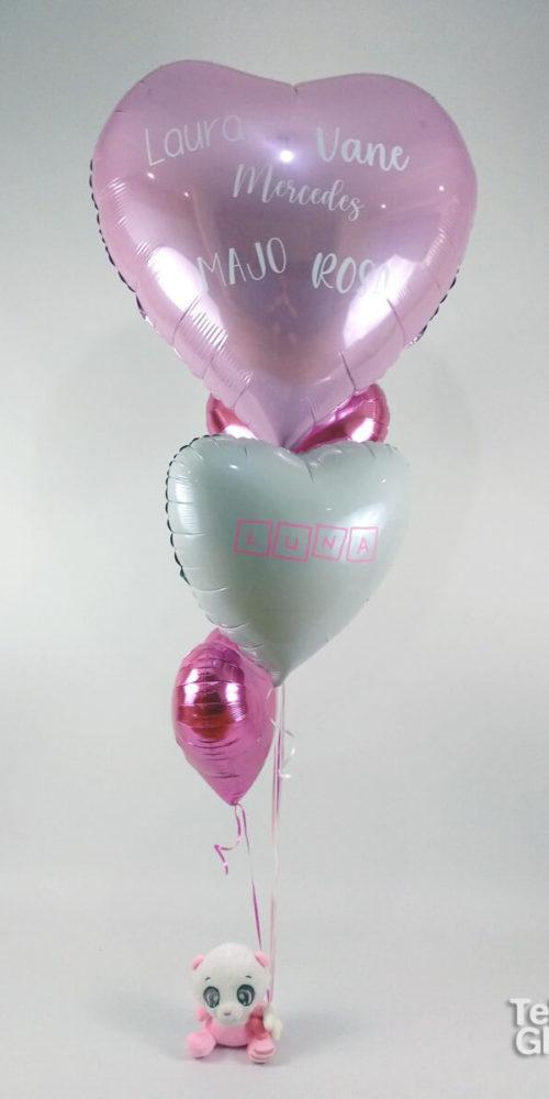 arreglo de globos con osito de peluche para nacimiento personalizado