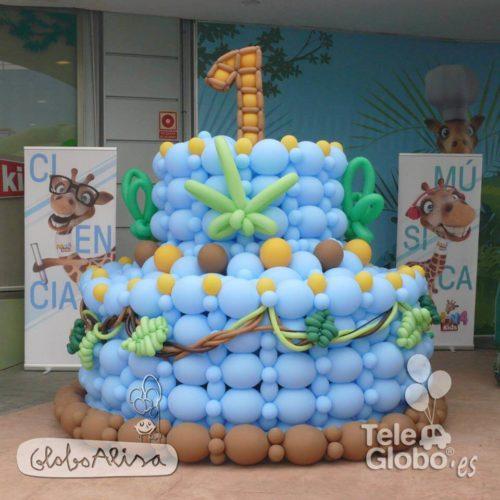 Tarta de globos gigante aniversario centro comercial MN4Kids